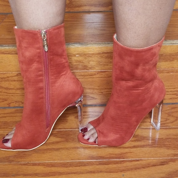 c32584b6919e5 Pointed Open Toe Rust Lucite Booties NWT